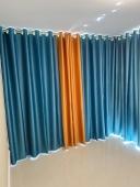喜庆色(墨绿+橙色)窗帘案例